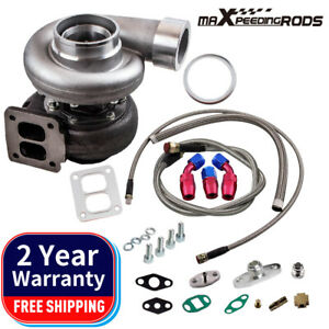 Gt45 V band T4 Flange Turbo Charger 600 hp Oil Drain Feed Return Line Kits