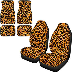 6pcs Front Seat Covers With Front Rear Floor Mats Leopard Grain Full Set For Car