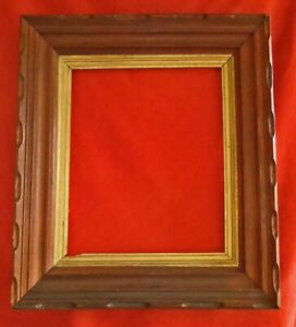 Antique Large Scale Chip Carved Wood Picture Wall Painting Frame Gilded Inset