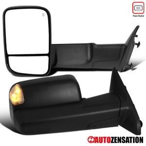 For 2013 2015 Dodge Ram 1500 2500 3500 Tow Mirrors Led Puddle Led Turn Signal