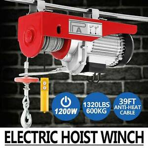 1320 Lbs Electric Cable Hoist Crane Lift Garage Auto Shop Winch With Remote 110v
