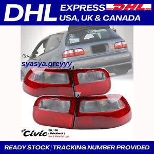 New Red Clear Rear Tail Light Lamp For Honda Civic Eg Eh 3dr Hatchback 92 95