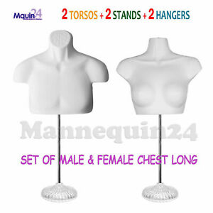 2 White Mannequin Torsos W 2 Stands 2 Hangers Male Female Dress Form Set