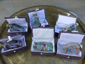 Superb Set Of 6 Vintage Chinese Snuff Bottles With Boxes Y8 W6 A9