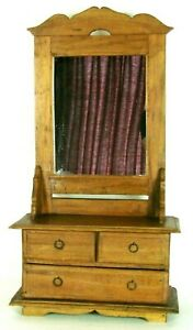 Childs Antique Wooden Dresser With Mirror Salesman Sample 31 In Tall 3 Drawer
