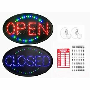Gpc Inc Large Jumbo Size Led Open Closed Sign With Business Hours 23x14 Bar