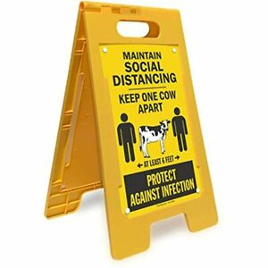 Maintain Social Distancing Folding Floor Sign Double sided Keep One Cow Apart