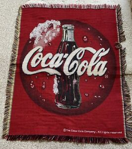 COCA COLA Vintage BLANKET THROW TAPESTRY SODA  47x35