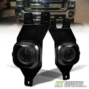 Smoked 1999 2004 Ford F250 F350 Excursion Led Halo Projector Bumper Fog Lights