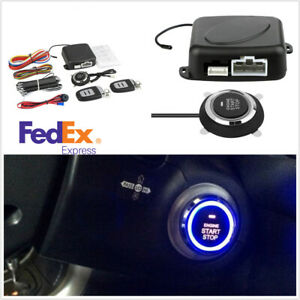 Car Alarm One Button Start Security System Keyless Entry Push Button Remote Kit