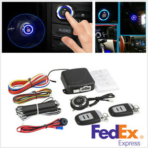 Vehicle Alarm Start Security System Key Passive Entry Push Button Remote Kit Us