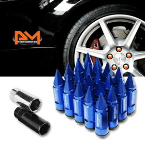 M12x1 5 Blue Jdm Cone Spiked Cap Wheel Lug Nuts Extension 23mmx83mm Tall 20pc