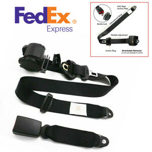 Us Stock Polyester Car Adjustable 3 Point Retractable Safety Seat Belt Universal