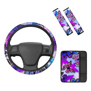 Butterfly Steering Wheel Protect With Auto Center Armrest Pad Seat Shoulder Belt