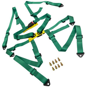 Pair Universal 4 Point Racing Seat Belt Safety Harness W Buckle Green