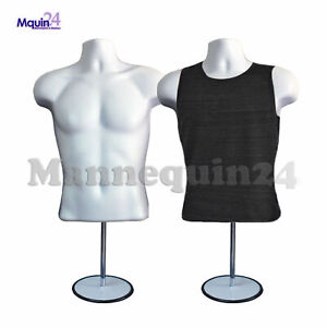 2 Pack Male Mannequin Form Hanger Stand White Torso Body Form For T Shirt