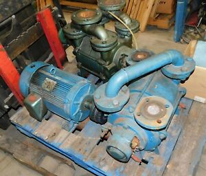 2 10hp Liquid Ring Vacuum Pumps Only 1 Motor Used
