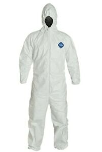 Dupont Tyvek Nonwoven Fiber Coverall Hood Elastic Wrists Ankles Single Suit