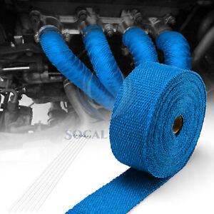 Blue Exhaust Pipe Insulation Thermal Heat Wrap 2 x50 Motorcycle Header