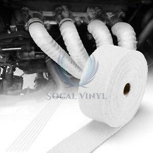 White Exhaust Pipe Insulation Thermal Heat Wrap 2 x50 Motorcycle Header