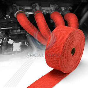 Red Exhaust Pipe Header Insulation Thermal Heat Wrap 2 x50 Motorcycle Car