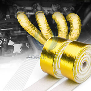 2 Rollx2 50ft Gold Exhaust Thermal Wrap Manifold Header Isolation Heat Tape