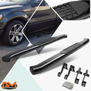 For 04 14 Ford F150 Regular Cab Curved Oval 4 Step Nerf Bar Running Board Black