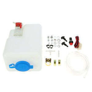 12v Universal Washer Tank Pump Bottle Set Kit Windshield Wiper Systems Q0d4