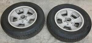 Pair Rocket Injector Halibrand Style Aluminum 15 X 4 1 2 Wheels W Tires 4 5 Bc