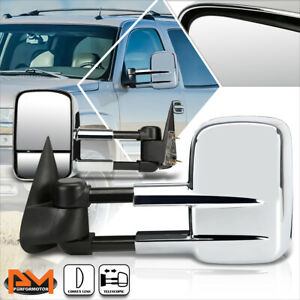 For 99 06 Chevy Silverado Gmc Sierra Manual Adjust Side View Towing Mirror Pair