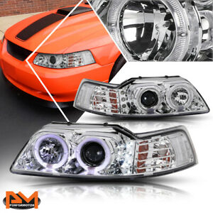 For 99 04 Ford Mustang Halo Ring Led Drl Projector Headlight Lamp Chrome Housing