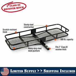 2 Hitch Mount Cargo Carrier Steel Basket Luggage Receiver Rack Hauler 500 Lbs