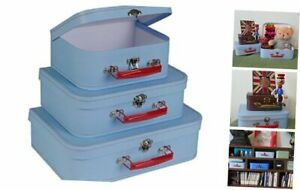 Slpr Cardboard Suitcase Boxes With Handle set Of 3 Retro Light Blue Paperbo