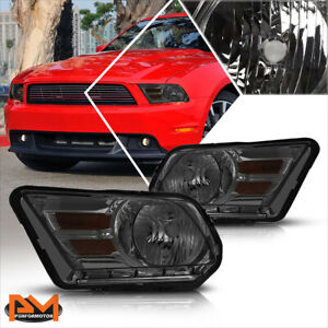 For 10 14 Ford Mustang Smoked Housing Headlight Amber Corner Signal Lamps Pair