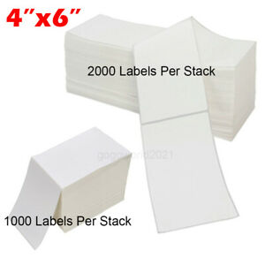 4000 5000 4 x6 Fanfold Direct Thermal Shipping Labels For Zebra Rollo Printer