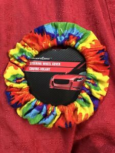 Rainbow Driver Tie Dye Soft Plush Fuzzy Auto Car Steering Wheel Cover