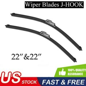 22 22 Windshield Wiper Blades J hook Oem Quality Bracketless Us Stock