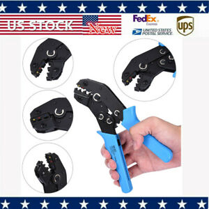 Blue Crimping Tool Crimper Pliers Terminal Wire Connectors Ratcheting Electric