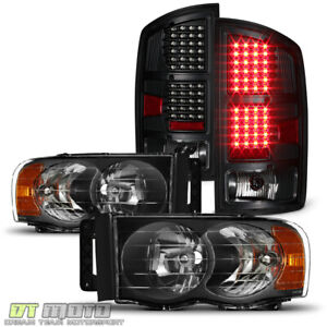 Black 2002 2005 Dodge Ram 1500 03 05 2500 3500 Headlights led Tail Lights Lamps
