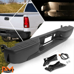 For 99 07 Silverado Sierra Direct Replacement Fleetside Rear Step Bumper Black