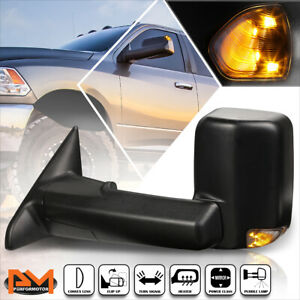 For 09 16 Dodge Ram 1500 5500 Powered Heated Towing Mirror Smoked Led Lamp Left