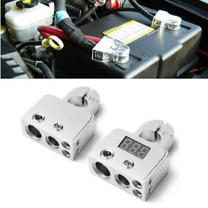 Pair Silver Negative Battery Terminal Connector W 12v 24v Voltmeter 0 4 8 Gauge