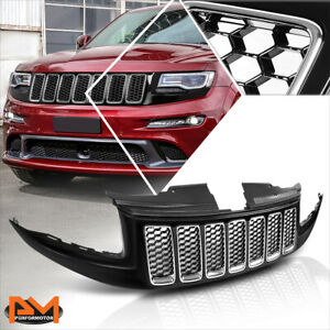 For 14 16 Jeep Grand Cherokee Srt 8 Honeycomb Mesh Abs Front Bumper Hood Grille