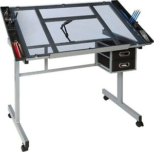 Adjustable Drawing Desk Rolling Drafting Table Board Tempered Glass Top Steel