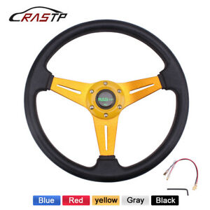 Racing Steering Wheel 340mm Deep Dish Leather 6 Bolt Jdm Sport With Horn Button