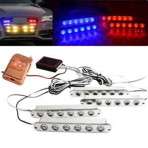 4in1 Car Led Red Blue Signal Strobe Flash Light Warning Lamp Remote Control