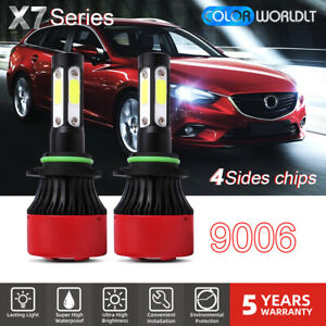 2x 4 Sides 9006 Hb4 Led Headlight Kit Low Beam Bulbs 6000k 120w 32000lm Foglight
