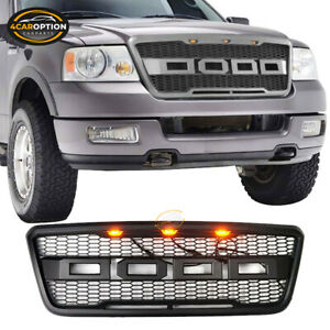 Fits 04 08 Ford F150 Front Bumper Grille Grill Raptor Style W Led