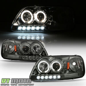 Smoked 1997 2003 Ford F150 Expedition 97 99 F250 Led Halo Projector Headlights