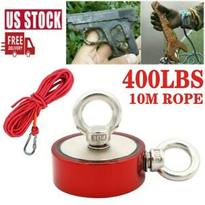 400lb Red Fishing Magnet Twin Ring Pull Force Strong Neodymium Heavy Duty W rope